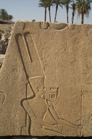 Bas-Relief of the God Amun, Karnak Temple, Luxor, Thebes, Egypt, North Africa, Africa