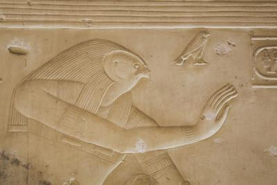 Bas-Relief of the God Horus, Temple of Seti I, Abydos, Egypt, North Africa, Africa by Richard Maschmeyer