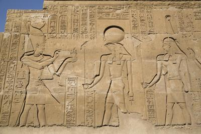 Bas-Reliefs on Walls, Temple of Haroeris and Sobek, Kom Ombo, Egypt, North Africa, Africa by Richard Maschmeyer