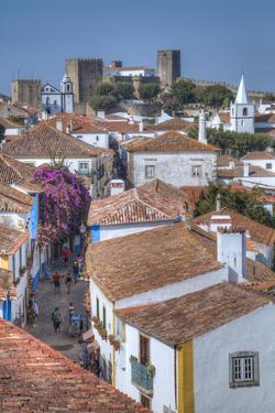 City overview with Medieval Castle in the background, Obidos, Portugal, Europe by Richard Maschmeyer