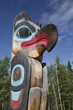 Eagle Image on Totem Pole, Teslin Tlingit Heritage Center, Teslin, Yukon, Canada, North America by Richard Maschmeyer