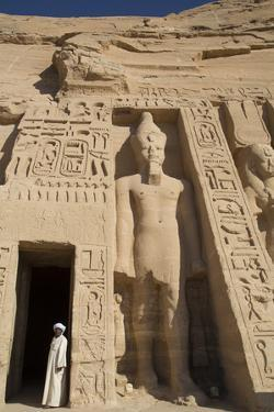 Local Man at Temple Entrance, Ramses Ii Statue on Right, Hathor Temple of Queen Nefertari by Richard Maschmeyer