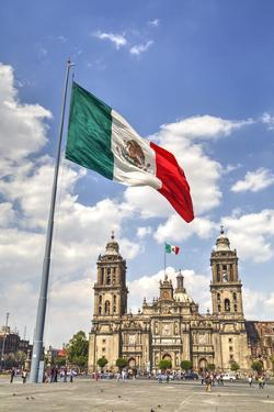 Mexican Flag, Plaza of the Constitution (Zocalo), Metropolitan Cathedral in Background by Richard Maschmeyer