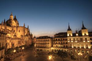 Plaza Mayor in evening with the Cathedral and Town Hall, Segovia, UNESCO World Heritage Site, Spain by Richard Maschmeyer