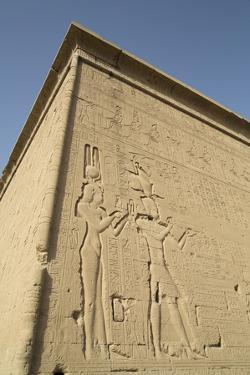 Relief Depicting Cleopatra and Caesarion, Temple of Hathor, Dendera, Egypt, North Africa, Africa by Richard Maschmeyer
