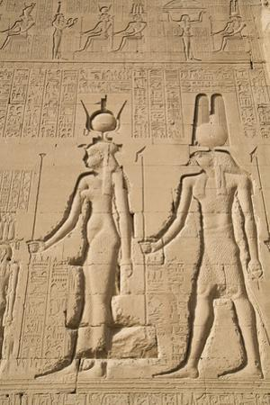 Relief of Cleopatra and Horus, Temple of Hathor, Dendera, Egypt, North Africa, Africa by Richard Maschmeyer