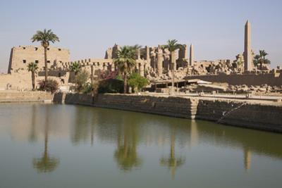Sacred Lake (Foreground), Karnak Temple, Luxor, Thebes, Egypt, North Africa, Africa by Richard Maschmeyer