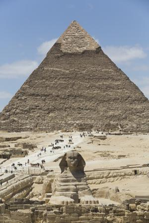 Sphinx in Foreground and Pyramid of Chephren, the Giza Pyramids, Giza, Egypt, North Africa, Africa