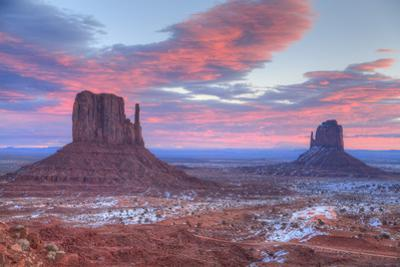 Sunrise, West Mitten Butte on left and East Mitten Butte on right, Monument Valley Navajo Tribal Pa by Richard Maschmeyer