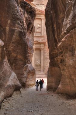 Tourists Approaching the Treasury from the Siq, Petra, Jordan, Middle East by Richard Maschmeyer