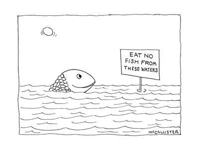 """A happy fish pokes his head above the water-line to read a sign that says ?"""" - New Yorker Cartoon"""