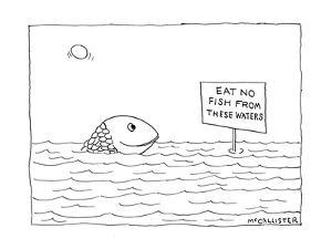"""A happy fish pokes his head above the water-line to read a sign that says …"""" - New Yorker Cartoon by Richard McCallister"""