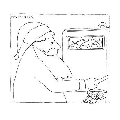 Santa Claus hits the jackpot at a slot machine when three reindeer come up? - New Yorker Cartoon