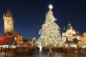Christmas Market at Old Town Square with Gothic Old Town Hall by Richard Nebesky