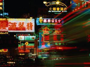Neon Signs on Nathan Road, Tsim Sha Tsui, Blur, Hong Kong by Richard Nebesky