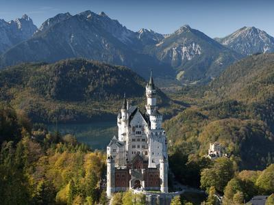 Romantic Neuschwanstein Castle and German Alps in Autumn, Southern Part of Romantic Road, Bavaria,