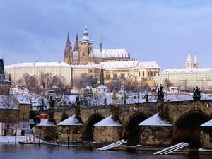 Snow Covered Prague Castle, Charles Bridge and Suburb of Mala Strana by Richard Nebesky