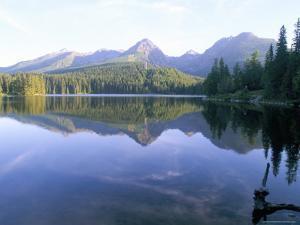 Strbske Pleso (Lake) and Peaks of Vysoke Tatry Mountains at Sunrise, Vysoke Tatry, Slovakia by Richard Nebesky