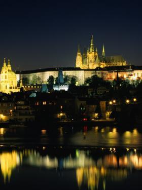 Vltava River from Charles Bridge of Prague Castle, at Night, Prague, Czech Republic by Richard Nebesky