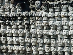 Wall of Skulls in Templo Mayor, Zocalo District, Mexico City, Mexico by Richard Nebesky