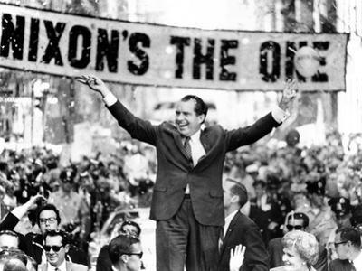 Richard Nixon, Delivering His the 'V' for Victory Sign
