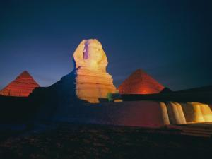 A Night View of the Great Sphinx and the Pyramids of Giza by Richard Nowitz