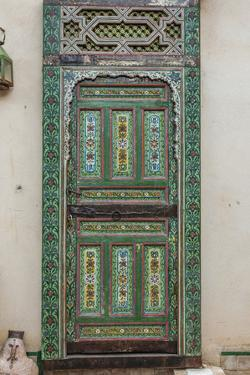A Painted Door in Le Jardin Des Biehn, a Riad or Small Hotel in the Medina of Fez by Richard Nowitz