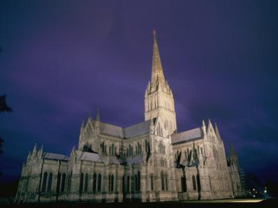 A View of the Salisbury Cathedral at Night by Richard Nowitz