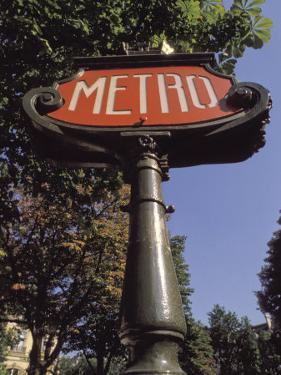 Art Nouveau Metro Sign on the Champs Elysees in Paris by Richard Nowitz