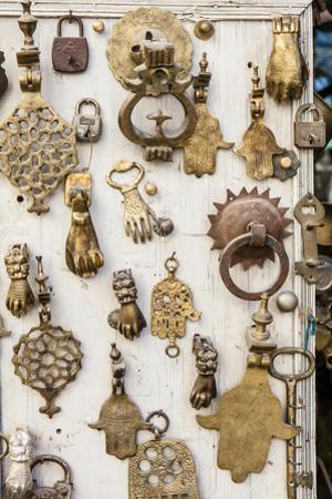 Assorted Brass Door Knockers for Sale in the Medina of Fez