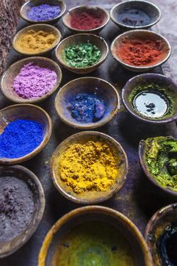 At the Marrakech Medina, Colored Powder Dyes Used in Fabric Dyeing by Richard Nowitz