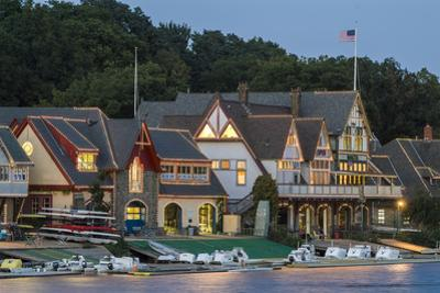 Boathouse Row at Dusk on Schuylkill River in Philadelphia by Richard Nowitz