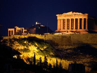 Classic Night View of the Parthenon and Surrounding Acropolis by Richard Nowitz
