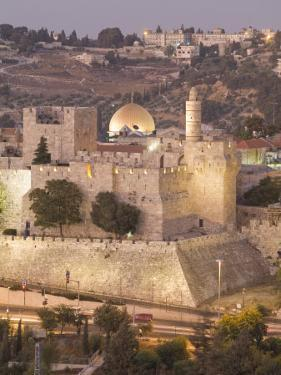 Dome of the Rock with Tower of David Museum, at Jaffe Gate in Jerusalem's Old City by Richard Nowitz