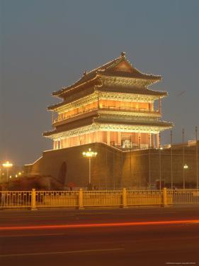 Floodlit Gate on Tiananmen Square with Car Light Streaks by Richard Nowitz