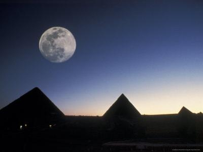 Moonrise above Giza Pyramids in Egypt