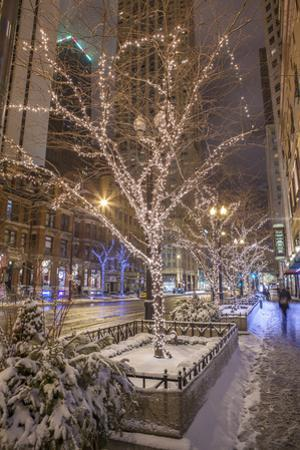 Night Scene on East Pearson Street with Christmas Lights by Richard Nowitz
