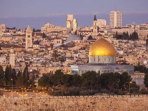 Old City from the Mount of Olives, with Dome of the Rock and West Jerusalem Skyline by Richard Nowitz