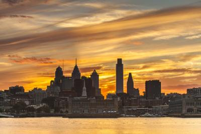 Philadelphia's Skyline at Sunset Seen from Camden, New Jersey