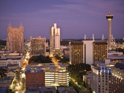 San Antonio, Texas, Skyline of the City at Twilight
