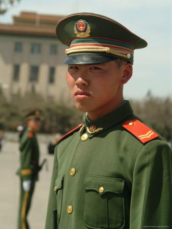Soldiers Stand Guard in Front of Tiananmen Square by Richard Nowitz