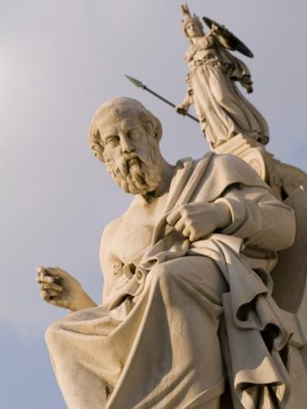 Statues of Plato and Athena in Front of the Academy of Athens