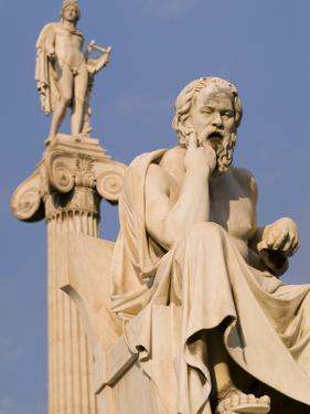 Statues of Socrates and Apollo in Front of the Academy of Athens by Richard Nowitz