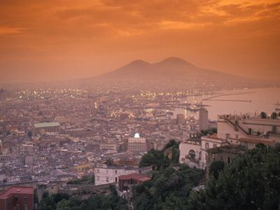 Sunset at Mount Vesuvius with Naples in the Foreground at the Bay of Naples in Italy