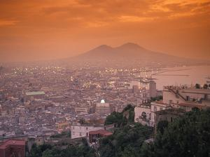 Sunset at Mount Vesuvius with Naples in the Foreground at the Bay of Naples in Italy by Richard Nowitz