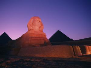 The Great Sphinx Illuminated at Night by Richard Nowitz