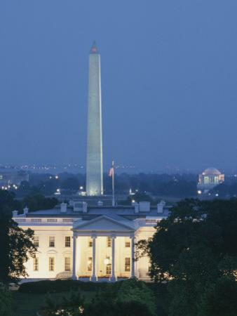 The White House, Washington Monument, and Jefferson Memorial at Dusk