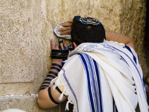 """Western Wall, Jewish Man Wearing a Prayer Shawl """"Talit"""" and Phylacteries or Tefillin by Richard Nowitz"""