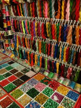Yarn and Beads are Sold at a Flea Market by Richard Nowitz