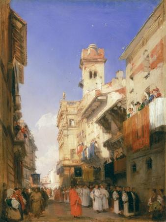 Corso Sant'Anastasia, Verona (Oil on Panel) by Richard Parkes Bonington